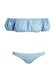 Lisa Marie Fernandez Leandra Patchwork Denim Bikini Light Denim