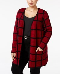 Charter Club Plus Size Windowpane Duster Cardigan Only At Macy's New Red Amore Combo