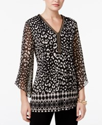 Jm Collection Petite Printed Chiffon Sleeve Tunic Only At Macy's Geo Animal