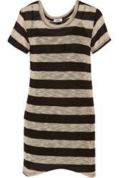 Lna Dhoney Striped Stretch Knit Mini Dress Brown