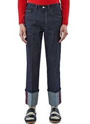 Gucci Trimmed Cuff Pleat Jeans Navy