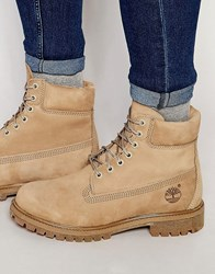 Timberland Icon 6 Inch Leather Premium Boots Beige