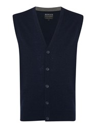 Howick Arlington Sleeveless 100 Lambswool Cardigan Navy