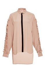 N 21 No. Ruffle Embellished Silk Blouse Pink