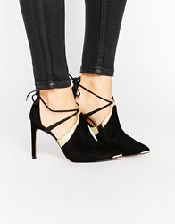 Ted Baker Ikeba Tie Up Suede Heeled Shoes Sued Af Black Gold