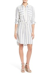 Women's Caslon Drawstring Waist Shirtdress Ivory Blue Stripe