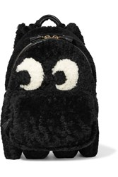 Anya Hindmarch Ghost Leather Trimmed Shearling Backpack Black