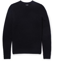 A.P.C. Textured Merino Wool Sweater Navy