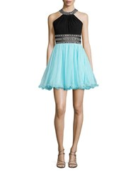 Blondie Nites Sleeveless Embellished Backless Fit And Flare Dress Black Mint