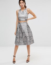True Decadence Metallic Midi Skirt In Jacquard Pewter Jacquard Silver