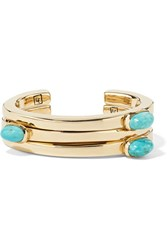 Lisa Eisner Set Of Three Bronze And Turquoise Cuffs Gold