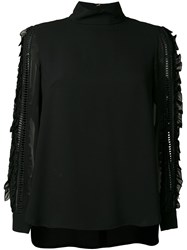 Muveil Embellished Sleeves Blouse Black