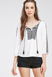 Forever 21 Floral Embroidered Peasant Top Cream Black