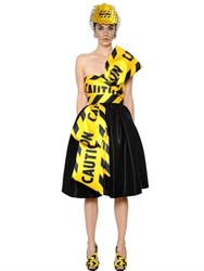 Moschino Caution Tape Printed Bow Satin Dress