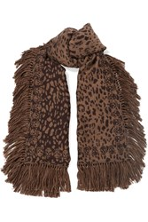 Alexander Mcqueen Tasseled Wool And Silk Blend Jacquard Scarf Leopard Print Brown