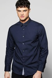 Boohoo Sleeve Shirt With Polka Dot Collar Navy