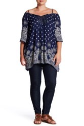 Angie Gauze Printed Cold Shoulder Tunic Plus Size Blue