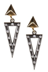 Adam Marc Two Tone Pyramid And Cz Triangle Cutout Earrings Black