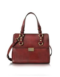 Roccobarocco Small Lizard Print Eco Leather Tote Bag Burgundy