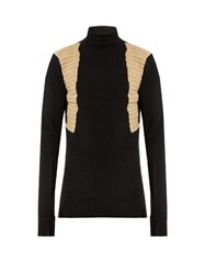 Rick Owens Contrast Panel Roll Neck Wool Blend Sweater Black Multi
