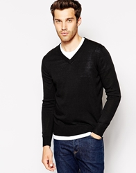 United Colors Of Benetton Jumper With V Neck Black