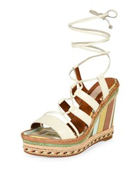 Leather Lace Up Espadrille Sandal Ivory Green Tea Valentino Ivory Green Tea S