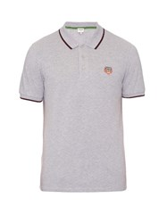 Kenzo Tiger Head Embroidered Cotton Polo Shirt Light Grey