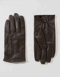 Barney's Barneys Leather Gloves In Brown Brown