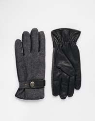 Dents Guildford Wool Gloves With Leather Palm Black