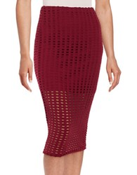 Kendall Kylie Laser Cutout Bodycon Skirt Red