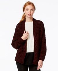 G.H. Bass And Co. Long Sleeve Cable Knit Cardigan Berry