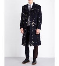 Thom Browne Single Breasted Check Print Wool Coat Navy
