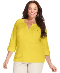Charter Club Plus Size Two Pocket Henley Top Only At Macy's Sun Yellow