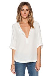Michael Stars 3 4 Sleeve Split Neck Dolman Ivory