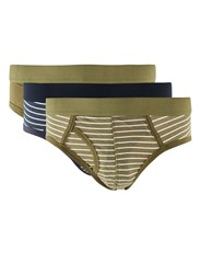 Topman Multi Khaki And Navy Stripe Briefs 3 Pack