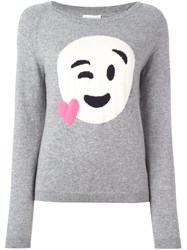 Chinti And Parker Heart Emoji Sweater Grey