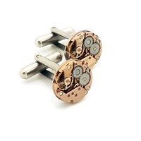 Lc Collection Rose Gold Vintage Omega Watch Movement Cufflinks