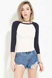 Forever 21 Ribbed Baseball Sweater Cream Navy