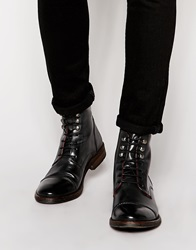 Base London Clapham Leather Military Boots Black