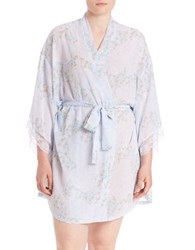 Flora By Flora Nikrooz Plus Floral Kimono Robe White Blue