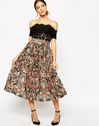 Ganni Full Midi Skirt In City Hall Lace Camel