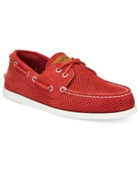 Tommy Hilfiger Men's Bowman 3 Perforated Boat Shoes Men's Shoes Red
