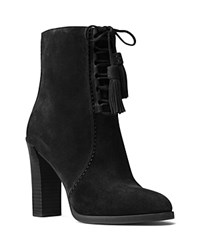 Michael Kors Odile Lace Up Block Heel Booties Black