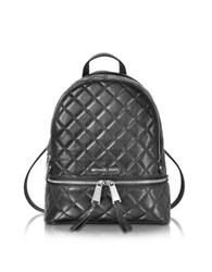 Michael Kors Rhea Zip Black Quilted Leather Medium Backpack
