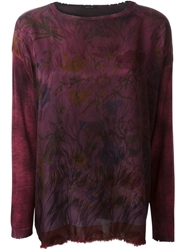Avant Toi Floral Print Sweater Pink And Purple