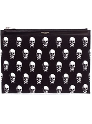 Saint Laurent Skull Print Canvas Pouch Black