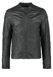 Goosecraft Biker Leather Jacket Gun Metal Anthracite