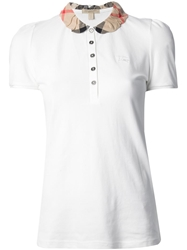 Burberry Brit Check Collar Polo Shirt White