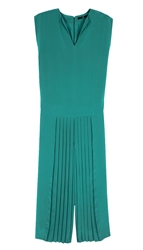 Tibi Simone Silk Pleated Jumpsuit