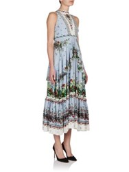 Erdem Nerissa Silk Floral Print Midi Dress Light Blue Green
